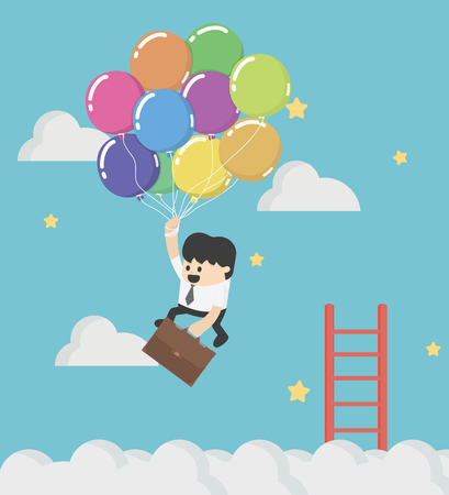 Businessman fly up away high on balloon concept shortcut to success to success.