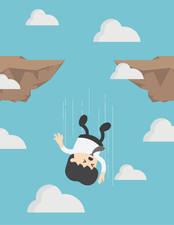 Businessman falling down from cliff or high mountain. Stock Illustratie