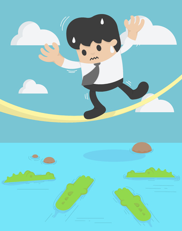 Businessman balancing on the rope crocodile. business crisis concept risk Illustration