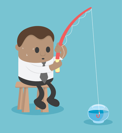 Business Concept Cartoon African businessman fishing in the empty fish tank Banque d'images - 115212616