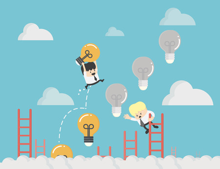 businessman up the Ladder light bulb .idea bulb among other no idea Business strategy planning objects icon set collage. 일러스트