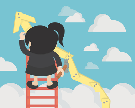 business woman create stock route up by oneself ladder against the sky. education and success concept Banque d'images - 115060830