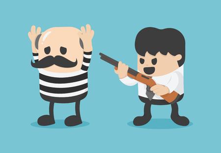 businessman catch thief. Vector illustration. Banque d'images - 115060832