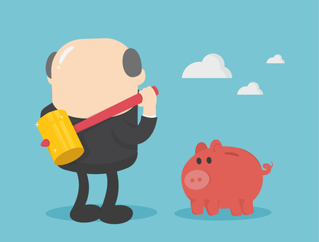 businessman with big hammer smash piggy bank