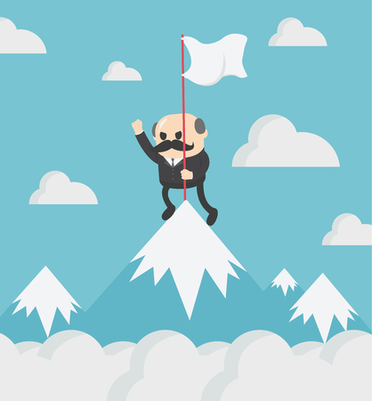 boss businessman holding success flag standing on top of mountain vector cartoon flat character isolated Banque d'images - 115060836