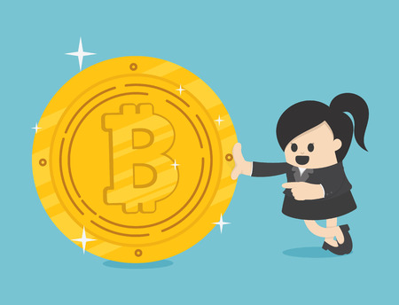 Concept entrepreneurs succeeding in Business Woman. Bitcoins Illustration