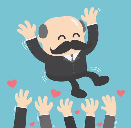 illustration of a successful businessman boss toss up successful businessman Illustration