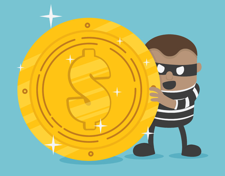 Stock Vector of thief. Bad thief wear black suit and mask holding money Banque d'images - 114950622