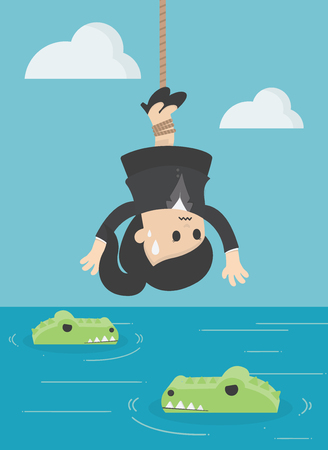 Business Concept Cartoon Illustration Human victim crocodile. business crisis concept risk Stock Illustratie