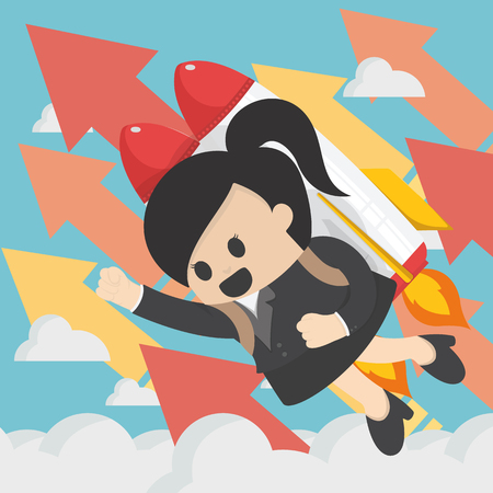 Cheerful businesswoman flying off with jet pack vector flat illustration of success.successful Banque d'images - 114876529