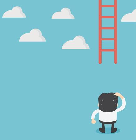 Businessman missing ladder climbing upwards. confused