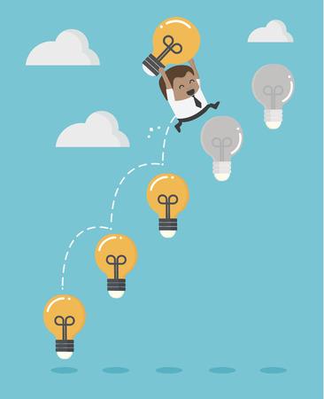 African businessman up the Ladder light bulb Banque d'images - 109508454