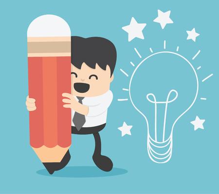 businessman writing idea and light bulb on wall