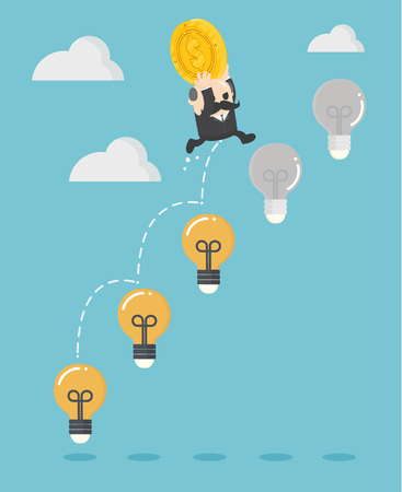 Businessman boss up the Ladder light bulb With money Investment Banque d'images - 112198464