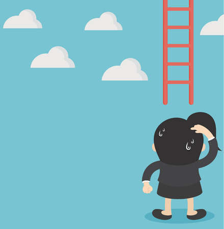 Business woman concept vector missing ladder climbing upwards Banque d'images - 112198465