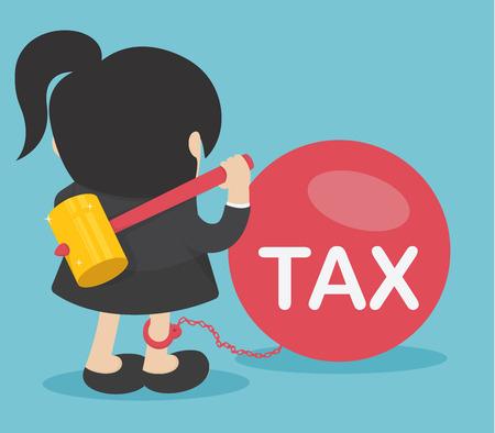Business woman against taxes Banque d'images - 112198466