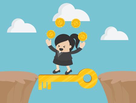 Überqueren Sie die Klippe mit dem Schlüssel zum Erfolg Illustration