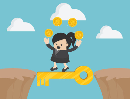 Cross the cliff with key to success illustration