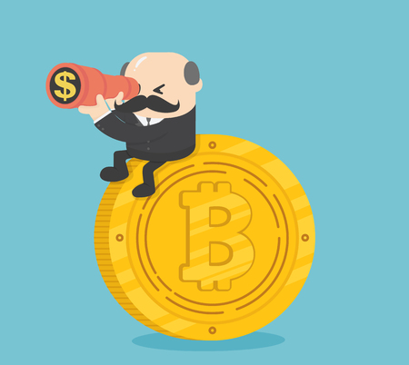 Businessman boss sit on coins Illustration