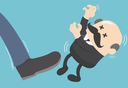 Geschäftsmann von seinem Chef getreten Geschäftsmann großen Fuß treten Vektorgrafik
