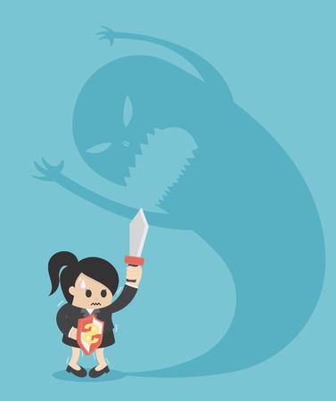 personne de femme d'affaires effrayée d'une grande ombre de monstre Vecteurs