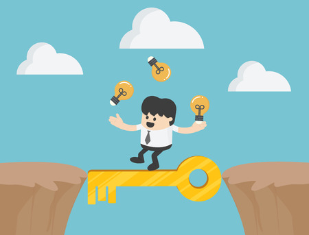 Businessman Cross the cliff with key to success illustration Çizim