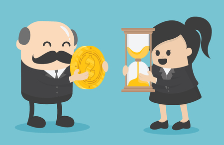 businessman and businesswoman are change a watch and a coin towards each other. Banque d'images - 111976611