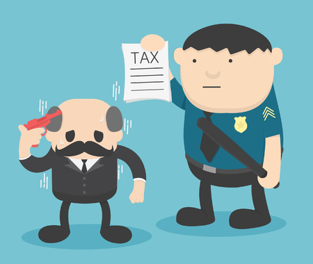 Businessman Trouble with Taxes Banque d'images - 111976612
