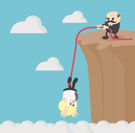 Business helping each other to climb mountain cliff
