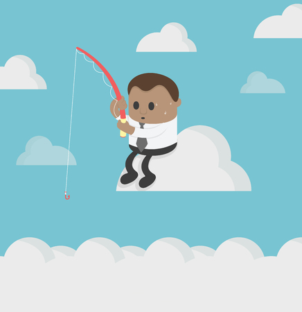 Concept African business fishingon empty clouds. show concern Banque d'images - 111905865