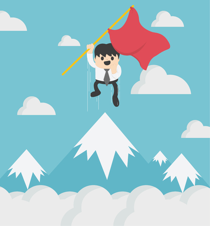 Concept of success Businessman holding a red flag jumping high on top of a hill Banque d'images - 111905869