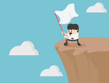 Successful businessman holding a flag on the cliff. Banque d'images - 111905870