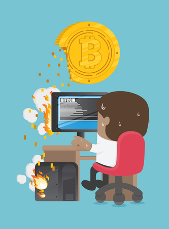 African businesses are trying to dig a bitcoin . computer has been damaged. Banque d'images - 111905872