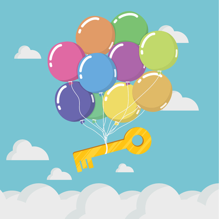 Key to Success is floating in the sky. Banque d'images - 111905877