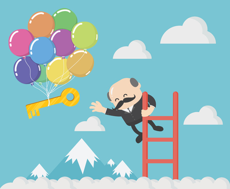 Chief business man is Try to pick up the keys to success that are floating away. Banque d'images - 111905878