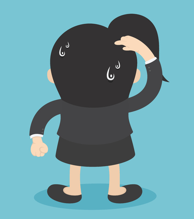 Geschäftsfrau, die einen Kratzerkopf zeigt. Verwirrt und verwirrt