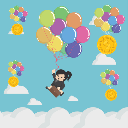 Concept of successful businesswoman drifting in the sky.with balloons of success Banque d'images - 111905880