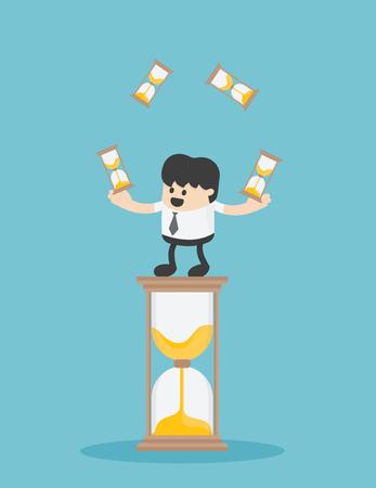 Businessman Time Management. Business Concept Cartoon Illustration Banque d'images - 111905884