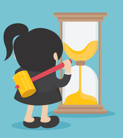 Business woma Time Management.Business woman against Time