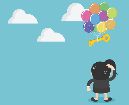 Businesswoman standing lookfloating key to the balloon To leave Banque d'images - 111905886
