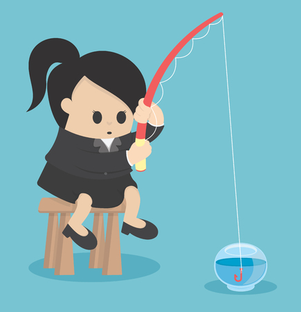 Business concept No plan is considered disastrous, Business women fishing in a dozen glasses empty Banque d'images - 111660188