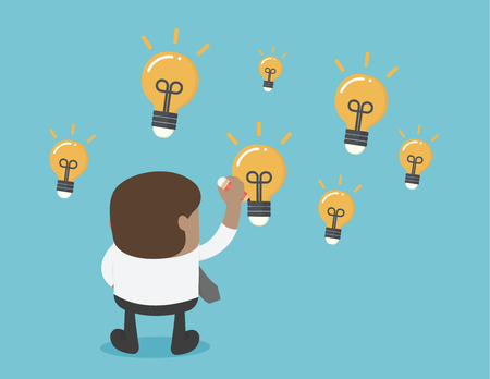African businesses draw a lot of light bulbs, indicating he has a lot of ideas. Banque d'images - 111660194