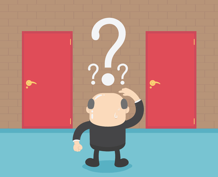 Businessmen who are confused in choosing their doors to seek success. Banque d'images - 111660197