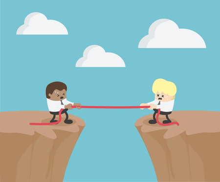 Competition concept. Business people. Businessman in suit pull the rope symbol of rivalry on the cliff