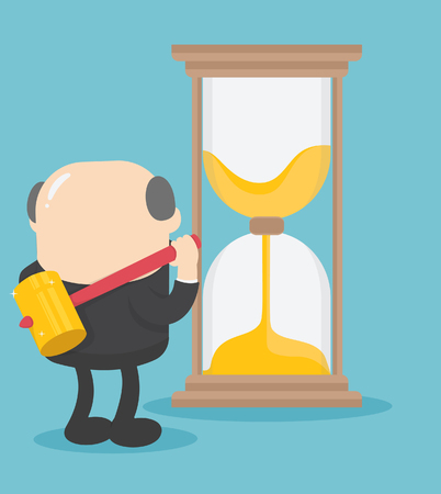 Boss businessman idea of breaking the time hourglass Banque d'images - 111660203