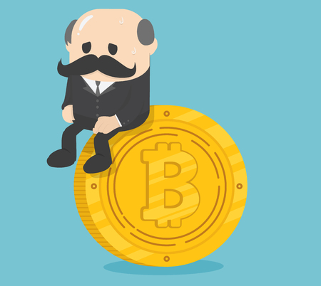 Business sitting on coins bitcoin, critical bitcoin depressing Banque d'images - 111660204
