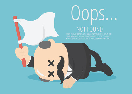 chief business man holds a white flag in a computerized defeat of corruption. about Page not found Error 404