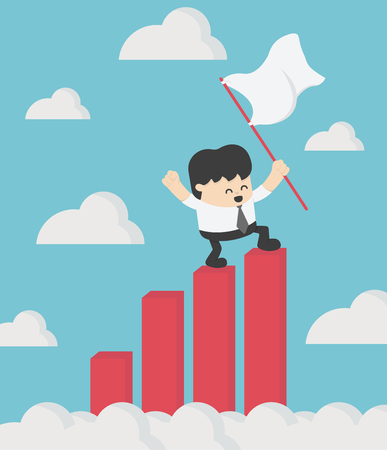 Business man standing holding a flag on his successful stock chart. Illustration