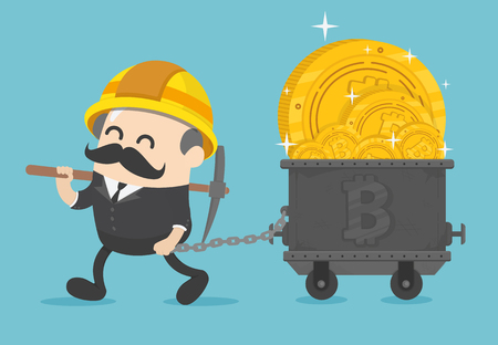Chief businessmen who succeeded in digging a huge amount of bitcoin. Ilustração