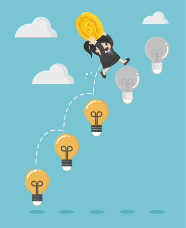 Business woman holding a dollar jump light bulb the to succeed.